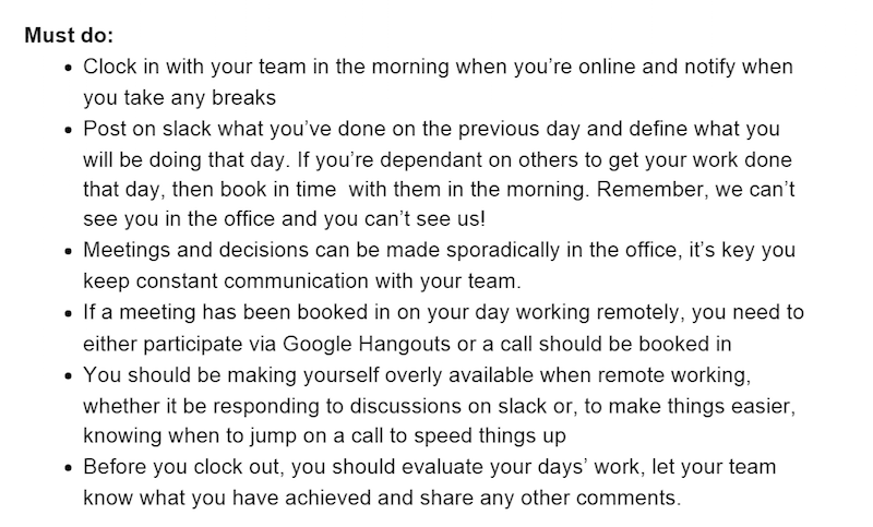 Remote Working Rules